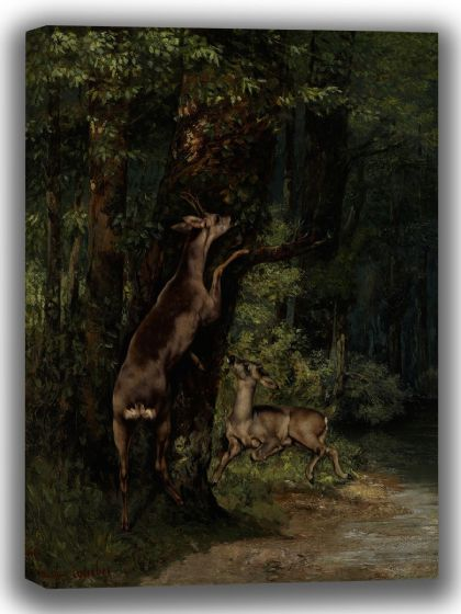Courbet, Gustave: Deer in the Forest. Fine Art Canvas. Sizes: A4/A3/A2/A1 (3984)